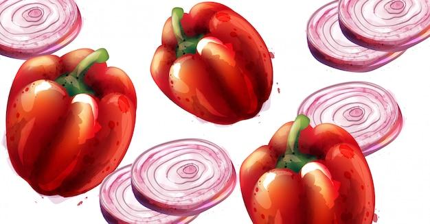 Paprika und zwiebeln