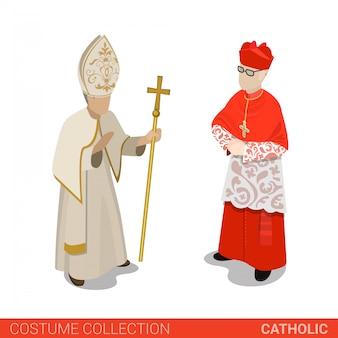 Papst und kardinal der vektorillustration der katholischen kirche.