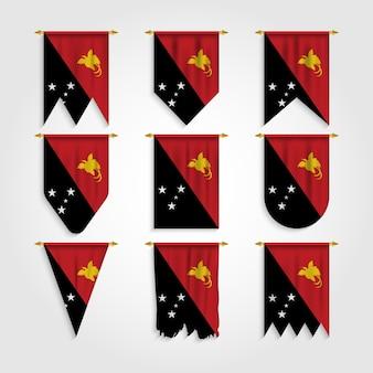 Papua-neuguinea-flagge in verschiedenen formen, flagge der papua-neuguinea-inseln in verschiedenen formen