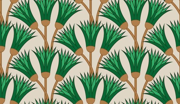 Papyrus-pflanzenwelle nahtlose textur. ornamentaler hintergrund stock stammt element des alten ägypten.