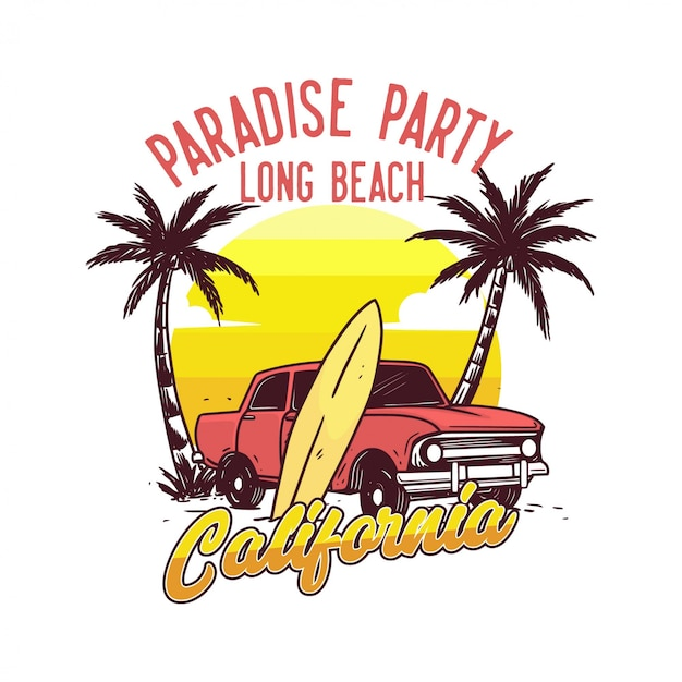 Paradies party long beach kalifornien design poster vintage