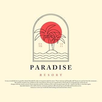 Paradies-resort-vintage-stil mit palmen-sonnenuntergang und wellensymbol paradies-logo-vektor