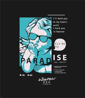 Paradies-slogan mit baby-engel-grafik auf schwarzem hintergrund