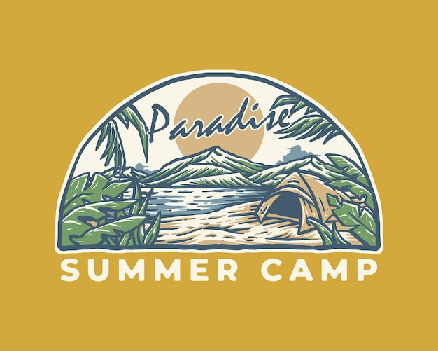 Paradies sommercamping vintage label illustration