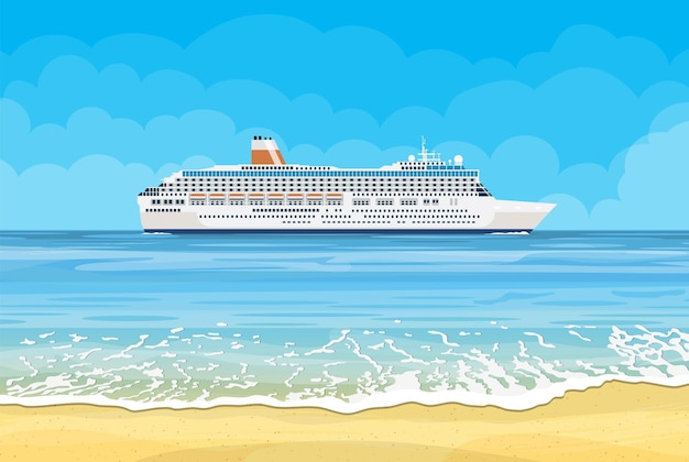 Paradiesstrand des meeres mit kreuzfahrtschiff. illustration im flachen stil