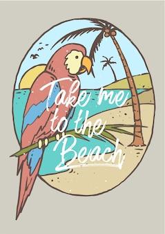 Paradiesvogel auf dem strand mit sonnenuntergang