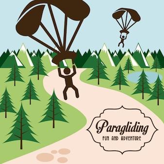 Paragliding-design über landschaftshintergrund