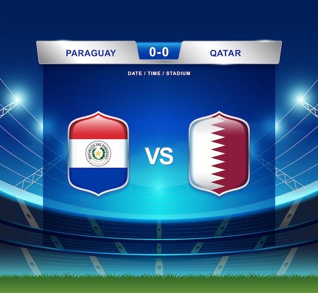 Paraguay gegen katar-anzeigetafel sendete fußball copa america