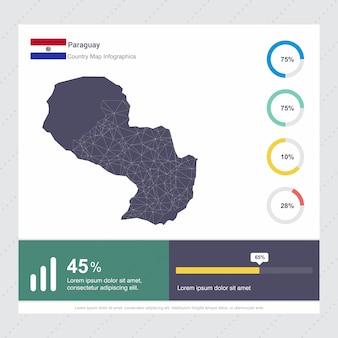 Paraguay karte & flagge infografik vorlage