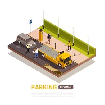 Paralleles parken neben dem isometrischen element des bordsteins mit falsch geparktem fahrzeugfahrer streit mit polizisten