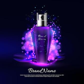 Parfüm-anzeige mit lila lichtern