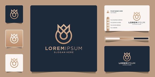 Parfüm-logo mit krone und tropfen-logo-design mit visitenkartenvorlage