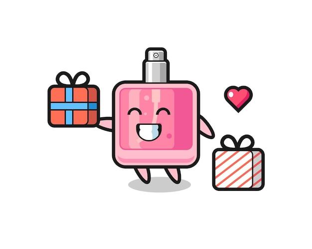 Parfüm-maskottchen-cartoon, der das geschenk gibt, niedliches design für t-shirt, aufkleber, logo-element