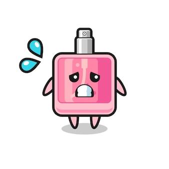 Parfüm-maskottchen-charakter mit ängstlicher geste, süßes design für t-shirt, aufkleber, logo-element