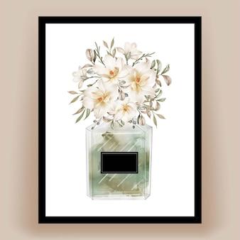 Parfüm mit magnolienblütenaquarellillustration