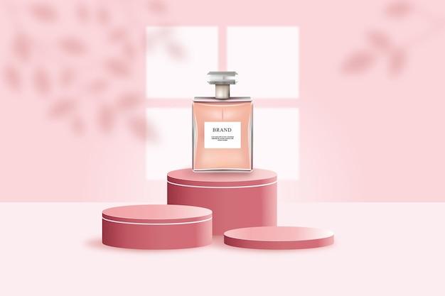 Parfüm-sprühflasche auf podiumschablone