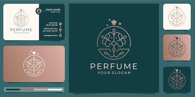 Parfüm-sprühflaschen-entwurfsschablone mit visitenkartenentwurf.
