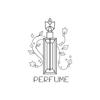 Parfümflasche auf einem weißen, isolierten hintergrund. vektor-illustration. linearer stil. logo.