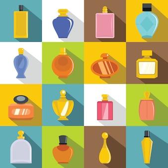 Parfümflascheikonen eingestellt, flache art
