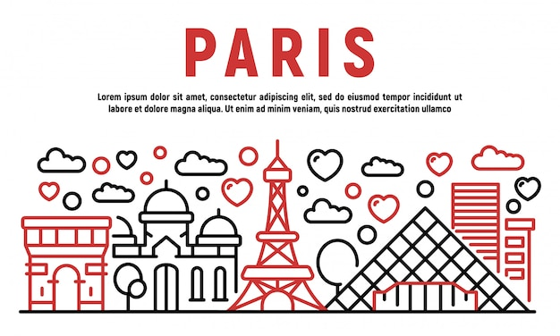 Paris banner, umriss-stil