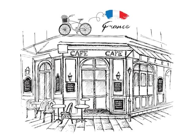 Paris-café satz handgezeichnete französische ikonen skizzieren illustration