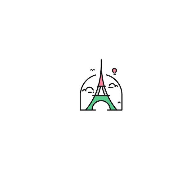 Paris, eiffelturm, pariser karikaturkunst, postkarte, strichzeichnungsvektorillustration