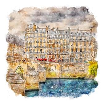 Paris frankreich aquarellskizze handgezeichnete illustration