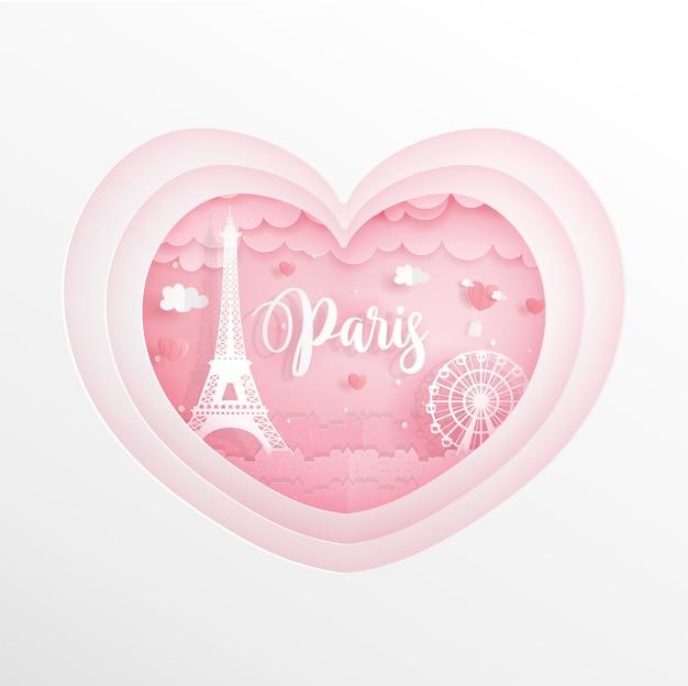 Paris, frankreich-marksteine im rosa herzen