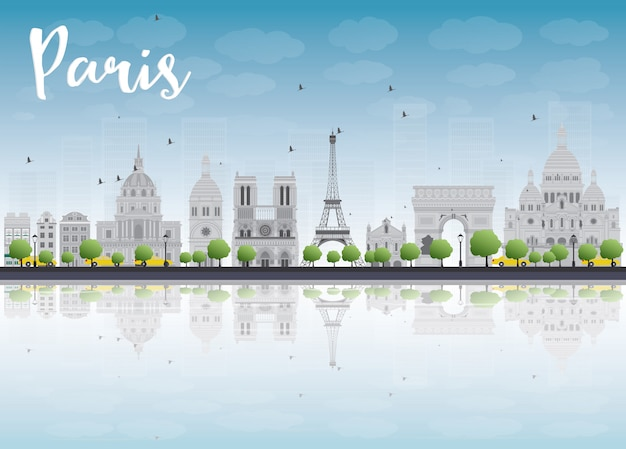 Paris-skyline mit grauen marksteinen und blauem himmel.