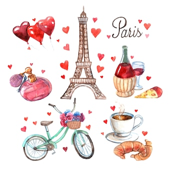 Paris-symbolaquarell-ikonenzusammensetzung