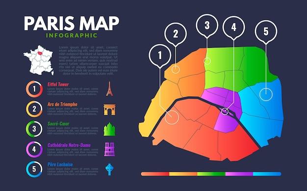Pariser karteninfografiken mit sehenswürdigkeiten