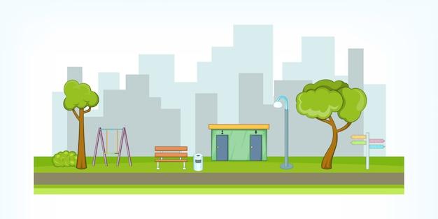 Park avenue hintergrund, cartoon-stil