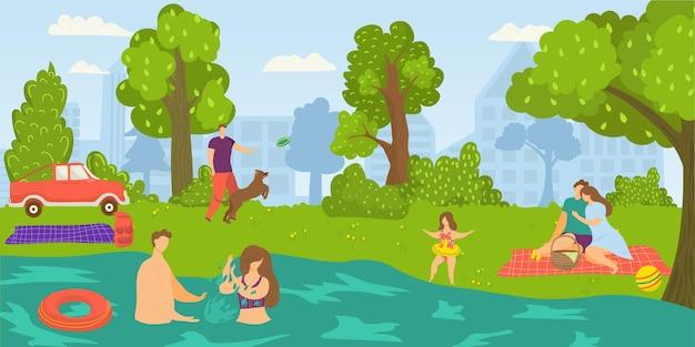 Park für menschen im freien, vektor-illustration. flacher mannfrauencharakter hat picknick in der natur, paare schwimmen im sommerflusswasser. guy person spielt mit flachem hund in grüner landschaft.