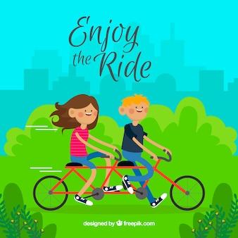 Park hintergrund der jungen auf dem fahrrad
