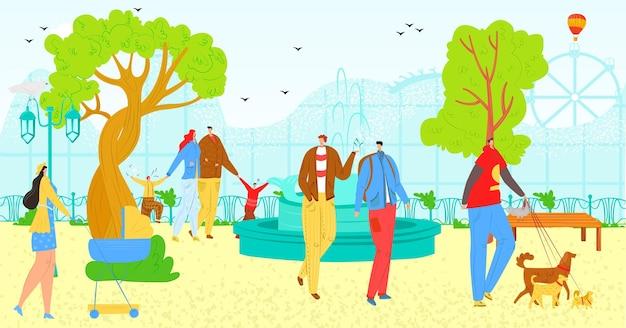 Park im freien mit leuten, vektorillustration. mannfrauencharakterspaziergang in der natur, stadtlebensstil im sommer. familienaktivität im park, flache person mit hunden, mutter mit kinderwagen in der landschaft.