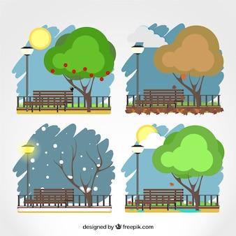 Park in vier jahreszeiten
