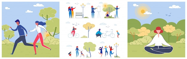 Park lifestyle flat illustrations pack