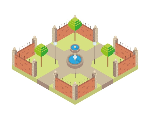 Park mit wasserbrunnen szene isometrische stilikone illustration design