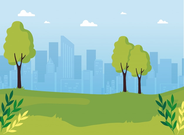 Park natur mit stadtlandschaft