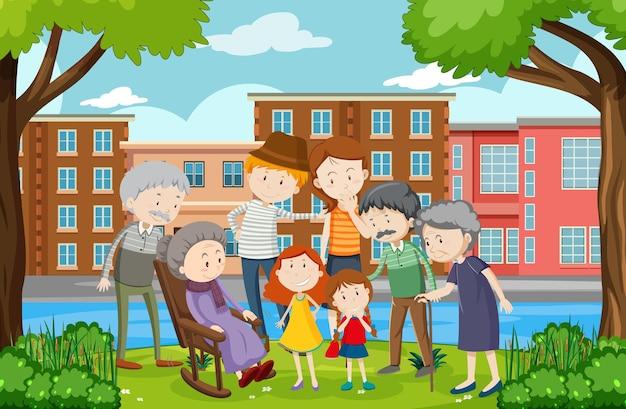 Park-outdoor-szene mit familienmitglied