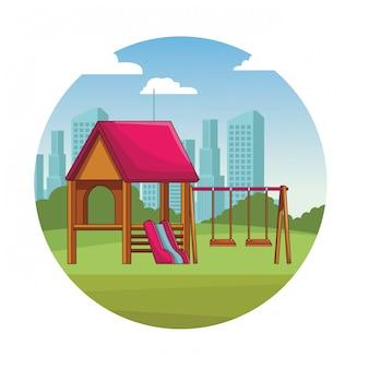 Park spielplatz cartoon