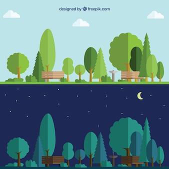 Park tag und nacht
