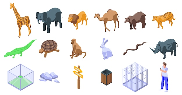 Park zoo icons set
