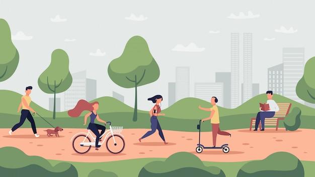 Parkaktivitäten. outdoor-sporttraining und gesunder lebensstil, menschen laufen, fahrrad fahren und joggen, parkaktivitäten illustration. parkaktivität, läufer und training, joggingübung