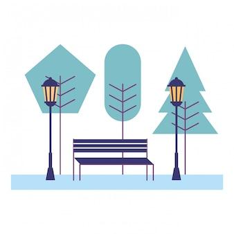 Parkbankbäume laternenpfahlszene