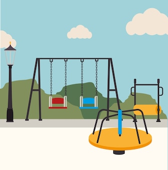 Parkdesign über landschaftshintergrund-vektorillustration