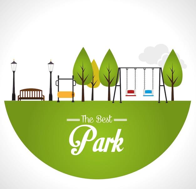 Parkdesign über weißer hintergrundvektorillustration