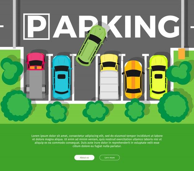 Parkdraufsicht in der flachen art