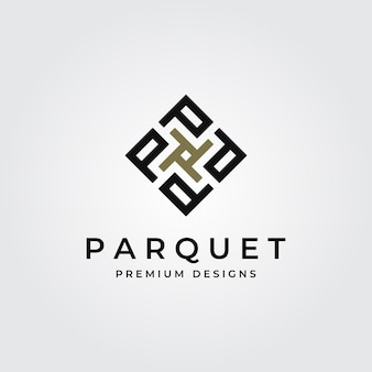 Parkettboden buchstabe p logo illustration