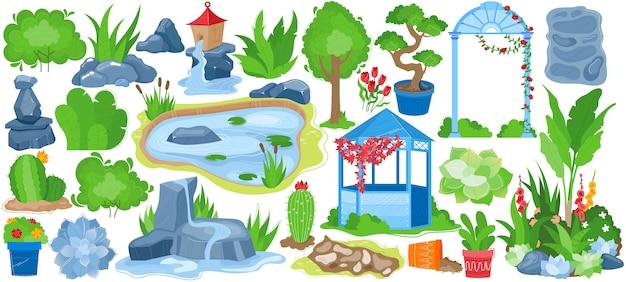 Parkgarten-landschaftsillustrationssatz, karikatur-gartensammlung mit natürlichem sommergrünbaum, blumentopf, brunnen